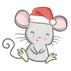 Cute and funny mouse wearing Santa's hat for Christmas sitting and smiling - vector.