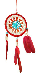 Red white blue Dreamcatcher on white background.