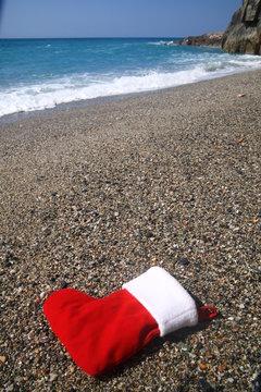 santa sock at the beach
