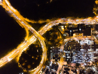 Top view of intersection of the road in Hong Kong at night