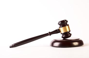 Wooden judge gavel or law hammer
