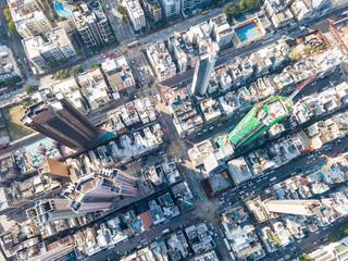 Top view of Kowloon city in Hong Kong