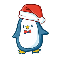 Funny and cute blue penguin wearing Santa's hat for Christmas and smiling - vector.