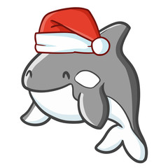 Cute and funny grey shark wearing Santa's hat for Christmas and smiling - vector.