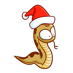 Cute and funny snake wearing Santa's hat and smiling - vector.