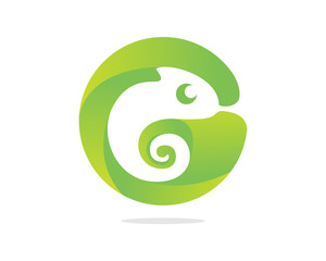 Cute Chameleon Sign Letter G Icon Logo Circle