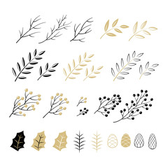 Set of Christmas elements for typographic design. Leaves, branches, berries in black and gold colour scheme. Vector illustration in modern style.