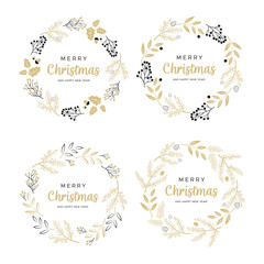 Set of Christmas wreaths with black and gold branches and pine cones. Unique design for your greeting cards, banners, flyers. Vector illustration in modern style.