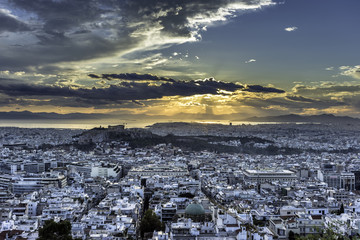 Acropolis and Athens at sunset