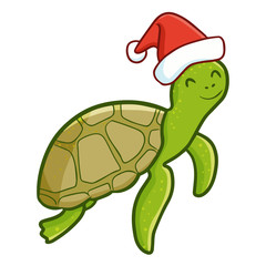 Cute and funny adult turtle wearing Santa's hat for Christmas swimming and smiling - vector.