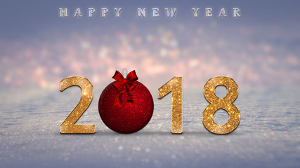 2018 Happy New Year card with golden, sparkle numbers, red Christmas ball on snow with colorful bokeh lights in the background. New Year's eve illustration with glitter text