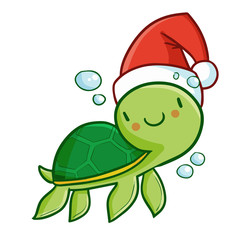 Cute and funny green baby turtle wearing Santa's hat for Christmas swimming and smiling - vector.