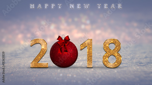 2018 happy new year card with golden sparkle numbers red christmas ball on snow