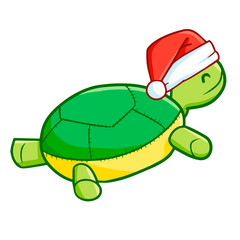 Funny and cute turtle doll wearing Santa's hat for Christmas and smiling - vector.