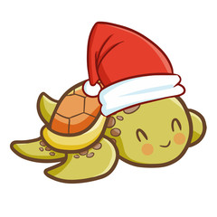 Cute and funny baby turtle wearing Santa's hat for Christmas and smiling - vector.