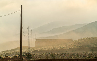 Tunisian countryside in the morning fog. Tataouine, Southern Tunisia