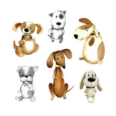 Watercolor cartoon illustration. Set of different cute dogs