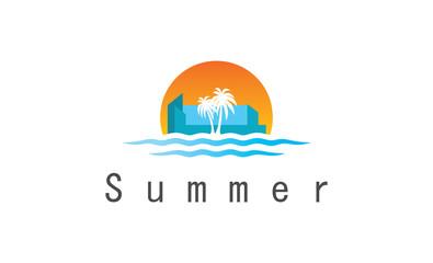 sun water city summer logo