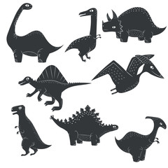 Vector dinosaur silhouette dino set isolated on white background