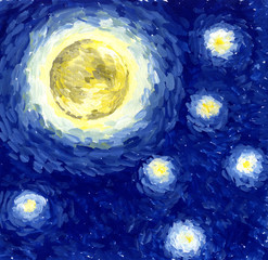 Starlight Night / Background, illustration, painting in the style of Van Gogh