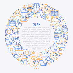 Islamic concept in circle with thin line icons: mosque, carpet, rosary, prayer, koran, moslem. Modern vector illustration, template for web page.