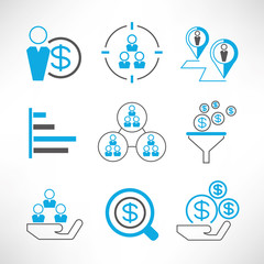 business management and organization concept icons