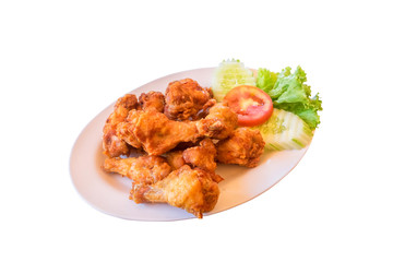 Fried chicken on white background., This has clipping path.