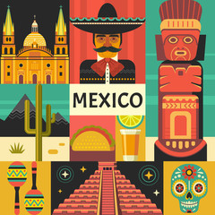 Mexico travel poster concept. Vector illustration of Mexican culture and food, including maracas, Sugar skull, Mayan pyramid, mariachi portrait and taco in trendy flat style. Isolated on background.
