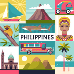 Philippines travel poster. Vector illustration of Philippine culture and nature icons, including Fort Santiago, portrait of a woman, tricycle, jeepney and a whale shark.