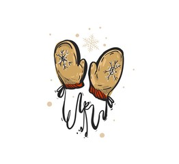 Hand drawn vector abstract fun Merry Christmas time cartoon doodle rustic festive illustration icon with cute holiday Santa Claus mittens isolated on white background