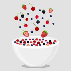 vector illustration logo for milk splash berries