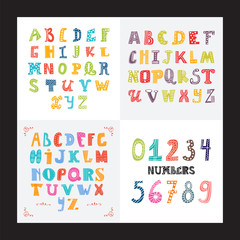 Collection of three funny alphabets and set of numbers. Cute colorful english font, hand drawn typeface
