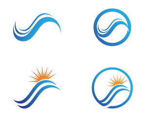 River and sun symbols Logo  Template icons