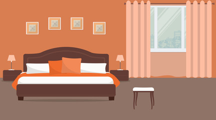 Bedroom in orange color. There is a bed with pillows, bedside tables, lamps on a window background in the image. There are also pictures on the wall. Vector flat illustration.