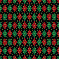Argyle diamond pattern background in Christmas colors. wrapping paper in vector format