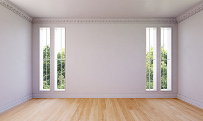 Leeres Zimmer mit hellem Holzfußboden