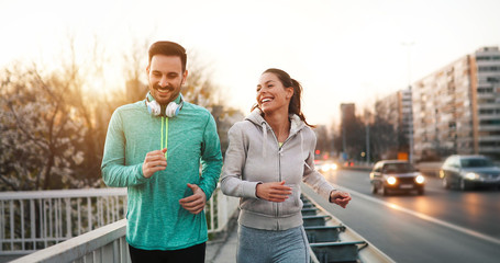 Keuken foto achterwand Jogging Couple jogging outdoors