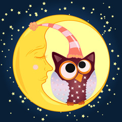 A sweet cartoon owl with eyes closed to the middle in a sleeping cap sits on a drowsy crescent moon against the background of a night sky with stars