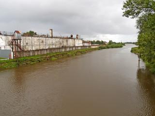 Prison on the river bank of Deym. Gvardeysk, Kaliningrad region