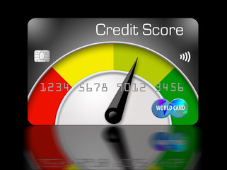 A credit score meter with a dial that goes from red to yellow to green appears in this 3-D illustration.