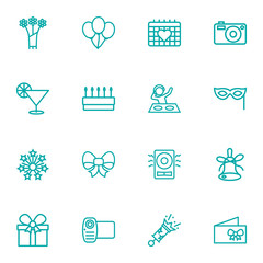Set Of 16 Cocktail Outline Icons Set.Collection Of Amplifier, Event, Pastry And Other Elements.