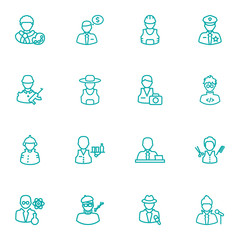 Set Of 16 Job Outline Icons Set.Collection Of Soldier, Servant, Designer And Other Elements.