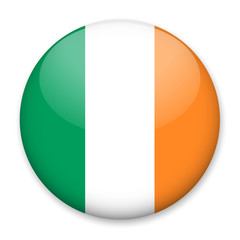 Flag of Ireland in the form of a round button with a light glare and a shadow. The symbol of Independence Day, a souvenir, a button for switching the language on the site, an icon.