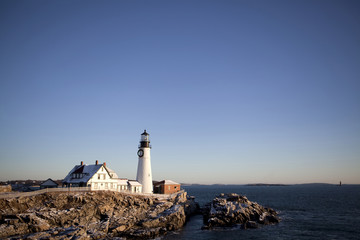 View of Portland Head Light against clear sky