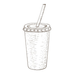 Disposable cup with drinking straw. Hand drawn sketch isolated on white background