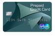 A modern design pre-paid  credit card is seen in this 3-D illustration.