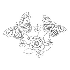 butterflies with flower leaves floral ornament vector illustration sticker