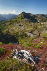 Backpacking through Tomyhoi Meadows in Autumn, North Cascade National Park, Washington.