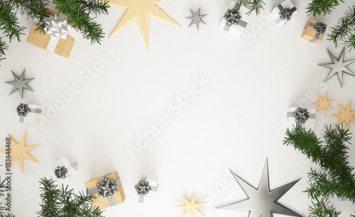 166be35c0c54 3D rendering of christmas composition: silver and golden christmas gifts,  pine leaves and stars