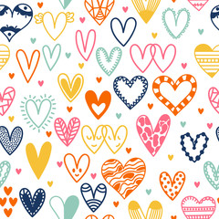 Hand drawn seamless pattern with hearts. Doodle design elements. Wedding background